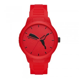 Puma 100% Original P5003 Men's Reset V2 Three Hand Quartz Red Polyurethane Strap Sport & Fashion Watch