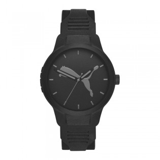 Puma 100% Original P5004 Men's Reset V2 Three Hand Quartz Black Polyurethane Strap Sport & Fashion Watch
