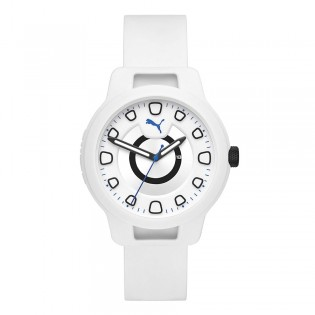 Puma 100% Original P5009 Men's Reset V1 Three Hand White Silicone Sport & Fashion Watch
