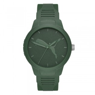 Puma 100% Original P5015 Men's Reset V2 Three Hand Quartz Army Green Polyurethane Strap Sport & Fashion Watch