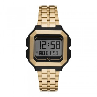 Puma 100% Original P5016 Men's Remix LCD Digital Gold Tone Steel Bracelet Sport and Fashion Watch
