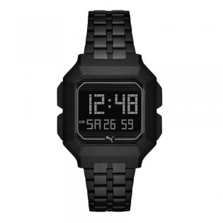 Puma 100% Original P5017 Men's Remix LCD Digital Full Black Steel Bracelet Sport and Fashion Watch