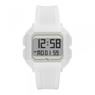 Puma 100% Original P5018 Men's Remix LCD Digital White Polyurethane Sport and Fashion Watch