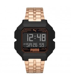Puma 100% Original P5035 Men's Remix LCD Digital Rose Gold Tone Steel Bracelet Sport and Fashion Watch