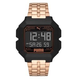 Puma 100% Original P5035 Men's Remix LCD Digital Rose Gold Tone Steel Bracelet Sport and Fashion Watch