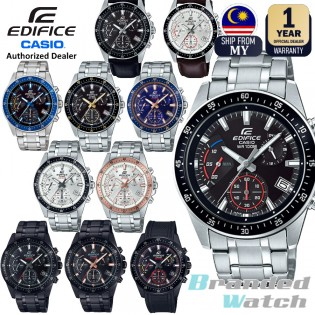 [Official Casio Warranty] Casio Edifice EFV-540 Series Men's Chronograph Date Display Stainless Steel Leather Rubber Strap Dress Fashion Sporty Watch