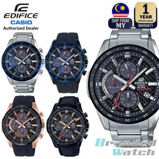 [Official Casio Warranty] Casio Edifice EQS-900 Series Men's Solar Powered Chronograph Date Display Stainless Steel Leather Rubber Strap Dress Fashion Sporty Watch