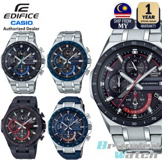 [Official Casio Warranty] Casio Edifice EQS-920 Series Men's Solar Powered Chronograph Date Display Stainless Steel Leather Rubber Strap Dress Fashion Sporty Watch