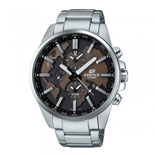 [Official Casio Warranty] Casio Edifice ETD-300D-5A Men's Dual Dial World Time Alarm Stainless Steel Band Dress Fashion Watch