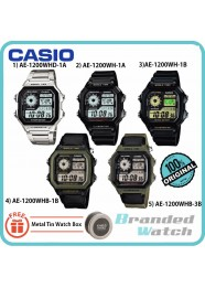 CASIO AE-1200WH ORIGINAL MAN DIGITAL WORLD TIME 10 YEAR BATT LIFE STEEL WATCH