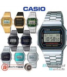 Casio A168 Men's Unisex Series Digital Retro Vintage Stainless Steel Fashion Dress Watch (watch for man / jam tangan lelaki / casio watch for men / casio watch / men watch / watch for men / jam digital / g shock original / jam ori) A168WA-1 A168WEGB-1B