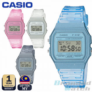 CASIO 100% ORIGINAL F-91WS TRANSPARENT JELLY DIGITAL UNISEX VINTAGE RETRO WATCH JAM UNISEX JAM CASIO ORI JAM KANAK JAM TANGAN CASIO JAM COMEL