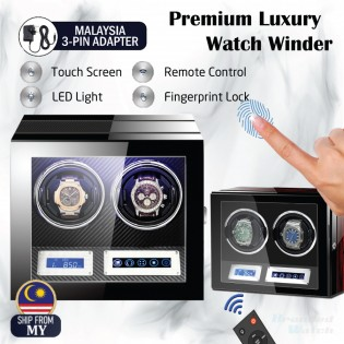 High Quality Premium Luxury Auto Watch Winder Automatic Rotate Watch Box 2 Slot PU Carbon Leather Watch Collector LED