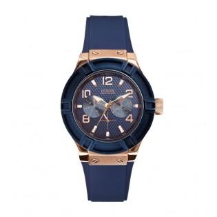 [100% Original] Guess W0571L1 Women's Analog Quartz Navy Blue Silicone Strap Watch