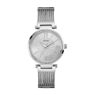 [100% Original] Guess W0638L1 Women's Analog Quartz Silver Stainless Steel Cable Strap Watch