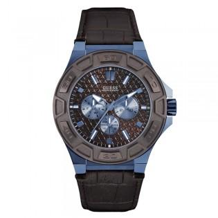 [100% Original] Guess W0674G5 Men's Multifunction Quartz Brown Leather Strap Watch