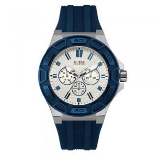 [100% Original] Guess W0674G4 Men's Multifunction Quartz Blue Silicone Strap Watch
