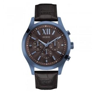 [100% Original] Guess W0789G2 Men's Chronograph Quartz Brown Leather Strap Watch