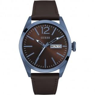 [100% Original] Guess W0658G8 Men's Analog Quartz Brown Leather Strap Watch
