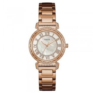 [100% Original] Guess W0831L2 Women's Analog Quartz Rose Gold Stainless Steel Strap Watch