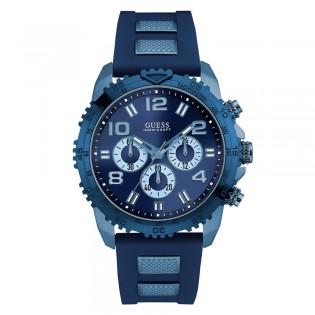 [100% Original] Guess W0599G4 Men's Chronograph Quartz Blue Silicone Strap Watch