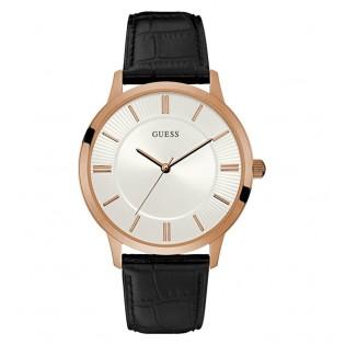 [100% Original] Guess W0664G4 Men's Analog Quartz Black Leather Strap Watch