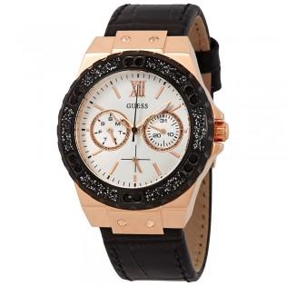 [100% Original] Guess W0775L9 Women's Multifunction Quartz Black Leather Strap Watch