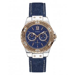 [100% Original] Guess W0775L10 Women's Multifunction Quartz Blue Leather Strap Watch