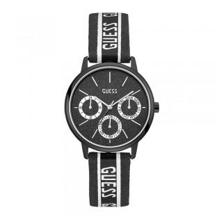 [100% Original] Guess V1013M2 Women's Multifunction Quartz Black Leather Strap Watch