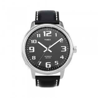 [100% Original] Timex T28071 Unisex's  Analog Quartz Black Leather Strap Watch