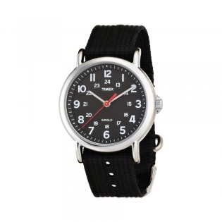 [100% Original] Timex T2N647 Unisex's Analog Quartz Black Fabric Strap Watch