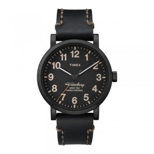 [100% Original] Timex TW2P59000 Men's Analog Quartz Black Leather Strap Watch