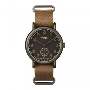 [100% Original] Timex TW2P86800 Unisex's Analog Quartz Brown Leather Strap Watch