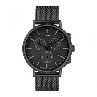 [100% Original] Timex TW2R27300 Men's Chronograph Quartz Black Metal Bracelet Strap Watch