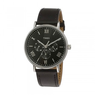 [100% Original] Timex TW2R29000 Men's Multifunction Quartz Black Leather Strap Watch
