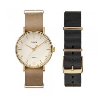 [100% Original] Timex TW2P98400Set Women's Analog Quartz Black & Brown Strap Watch
