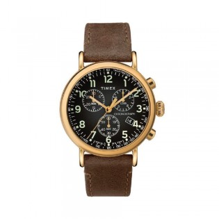 [100% Original] Timex TW2T20900 Men's Chronograph Quartz Brown Leather Strap Watch