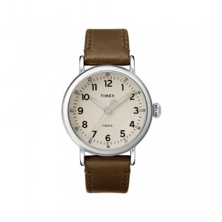 [100% Original] Timex TW2T20100 Men's Analog Quartz Brown Leather Strap Watch