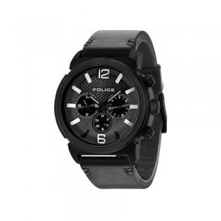 [100% Original] Police PL14377JSB/02A Men's  Multifunction Quartz Black Leather Strap Watch (watch for man / jam tangan lelaki / police watch for men / police watch / men watch / watch for men)