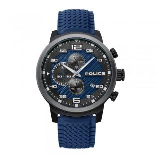 [100% Original] Police PL15657JSBU/03P Men's Chronograph Quartz Blue Silicone Strap Watch (watch for man / jam tangan lelaki / police watch for men / police watch / men watch / watch for men)