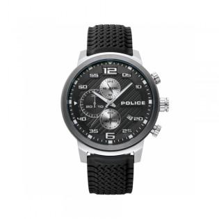 [100% Original] Police PL15657JSTU/02P Men's Chronograph Quartz Black Silicone Strap Watch (watch for man / jam tangan lelaki / police watch for men / police watch / men watch / watch for men)