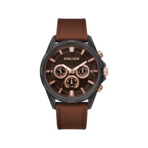 [100% Original] Police PL15390JBU/12 Men's Multifunction Quartz Brown Leather Strap Watch (watch for man / jam tangan lelaki / police watch for men / police watch / men watch / watch for men)
