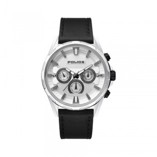 [100% Original] Police PL15390JBCS/04 Men's Multifunction Quartz Black Leather Strap Watch (watch for man / jam tangan lelaki / police watch for men / police watch / men watch / watch for men)
