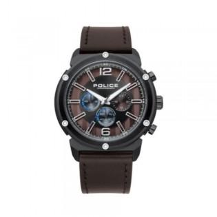 [100% Original] Police PL15726JSB/02 Men's Chronograph Quartz Brown Leather Strap Watch (watch for man / jam tangan lelaki / police watch for men / police watch / men watch / watch for men)