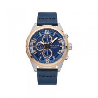 [100% Original] Police PL15665JSTR/03 Men's Multifunction Quartz Blue Leather Strap Watch (watch for man / jam tangan lelaki / police watch for men / police watch / men watch / watch for men)