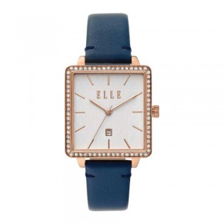 [Official Warranty] Elle ELL21024 Women's Ile De La Cite Analog Quartz Navy Blue Leather Strap Watch (watch for women / jam tangan perumpuan / elle watch for women / elle watch / women watch)