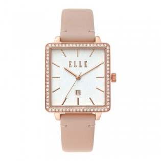 [Official Warranty] Elle ELL21025 Women's Ile De La Cite Analog Quartz Pink Leather Strap Watch (watch for women / jam tangan perumpuan / elle watch for women / elle watch / women watch)