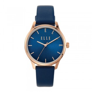 [Official Warranty] Elle ELL21028 Women's Monceau Analog Quartz Blue Leather Strap Watch (watch for women / jam tangan perumpuan / elle watch for women / elle watch / women watch)