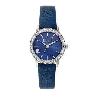 [Official Warranty] Elle ELL21031 Women's Alma Analog Quartz Blue Leather Strap Watch (watch for women / jam tangan perumpuan / elle watch for women / elle watch / women watch)