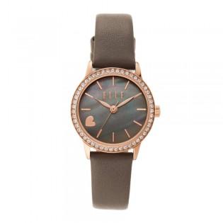 [Official Warranty] Elle ELL21033 Women's Alma Analog Quartz Grey Leather Strap Watch (watch for women / jam tangan perumpuan / elle watch for women / elle watch / women watch)